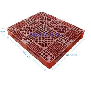 pallet do 1200x1100x150 300x300 - Pallet nhựa đỏ 1100x1100x150 mm